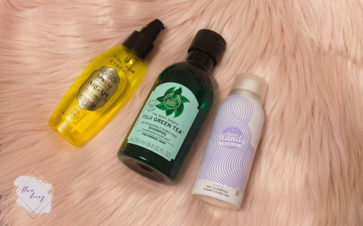 Kyrey's Argan Serum, The Body Shop's Fuji Green Tea Shampoo, and Merci Handy's Namaste Dry Shampoo