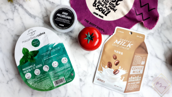 Lush (1000 Millihelens), Fancy Handy (Tomato Face Mask), A'PIEU (Coffee Milk Sheet Mask), Herbora (Menta y Té Verde) Masks - 100% Cruelty-free Morning/Night Skincare Routine
