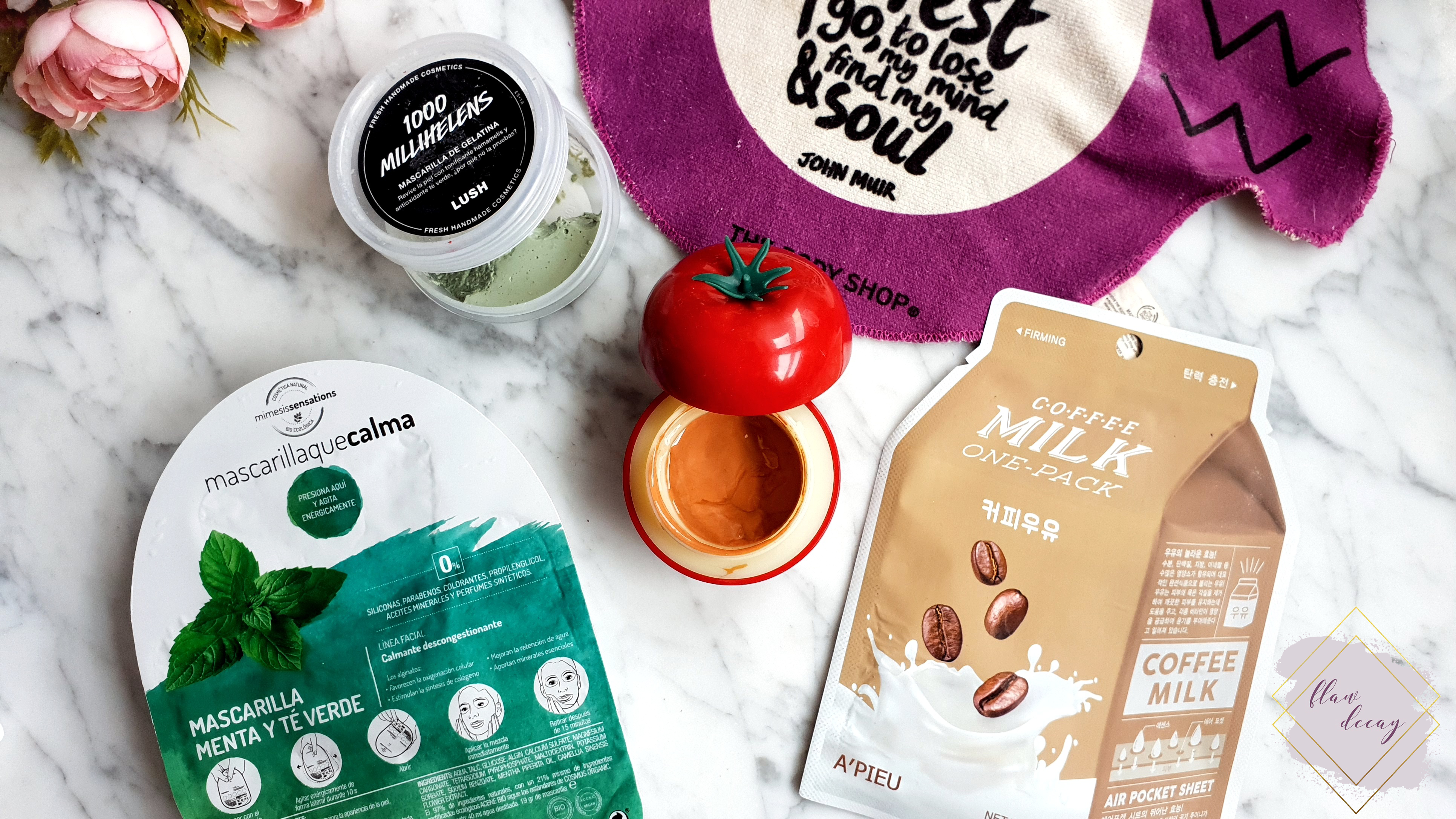 Lush (1000 Millihelens), Fancy Handy (Tomato Face Mask), A'PIEU (Coffee Milk Sheet Mask), Herbora (Menta y Té Verde) Masks - 100% Cruelty-free Morning/Night Skincare Routine