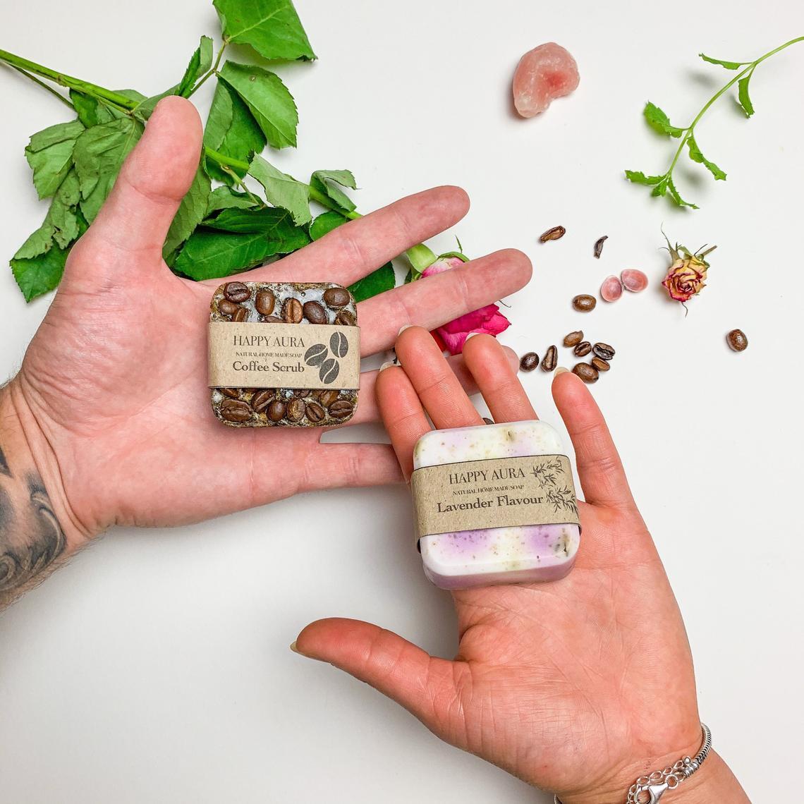 Coffee scrub and lavender soap - Happy Aura Ecofriendly Handmade Soaps (Etsy)